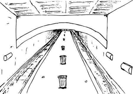 Outline sketch of subway platform with single platform and tracks on both sides Stock Vector - 108136705