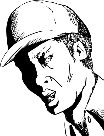 Outline of suspicious male in hat saying something over white background