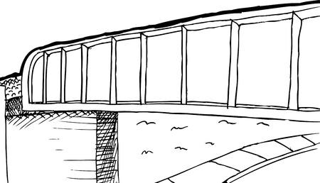 Outilned railroad bridge over street and sidewalk cartoon background Illustration