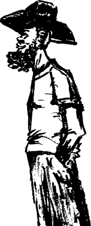 Side view outline doodle of bearded African man in cowboy hat