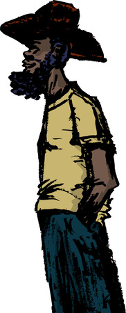 Bearded African man in cowboy hat with hands in pockets Illustration