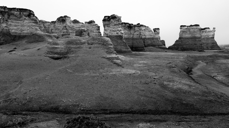 Monument Rocks, a nationally reconized chalk formation, one of Kansass Eight Wonders, a geological erosion of the earth.