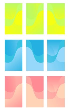 Set of colorful backgrounds for smartphone. Modern display themes. Template design for mobile app. Vectores