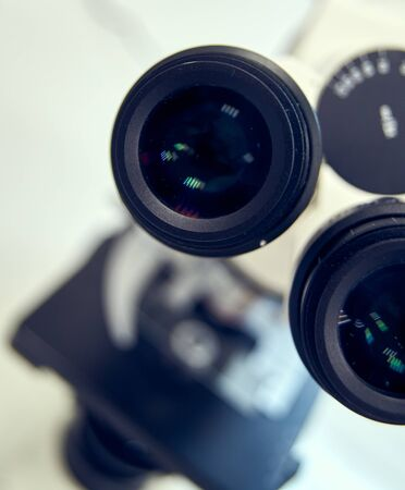 Microscope Eyepiece. Close up of Microscope ocular in laboratory. Standard-Bild