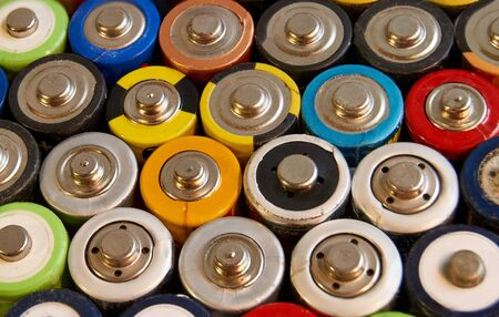 Used batteries from different manufacturers, waste, collection and recycling, high danger for the environment
