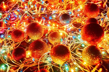 Christmas lights. Garlands glow for the new year. Colorful Christmas background.