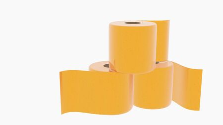 gold toilet paper. Concept of the price idea , illustration of high demand. Isolated on white background.