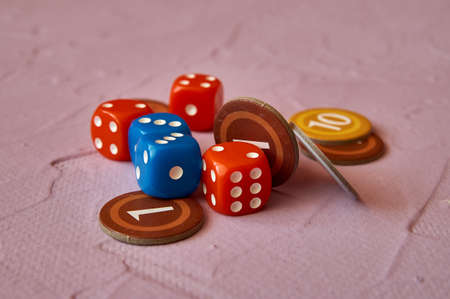 cards and dice. Components of a Board game. Type of hobby and family leisure.