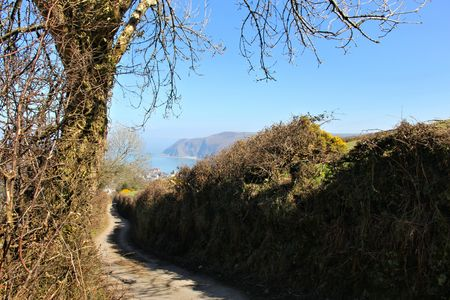 lynmouth: road to the coast Stock Photo