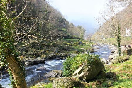lynmouth: rock by river