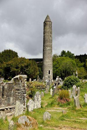 head stones: tower in glendalough