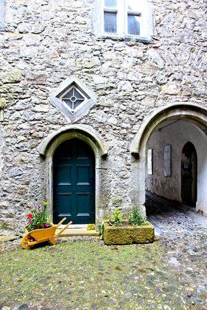 green door: courtyard and green door
