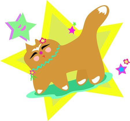 loves: Japanese Cat Loves Stars Illustration
