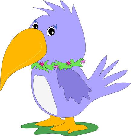 petite: Purple Petite Parrot Illustration