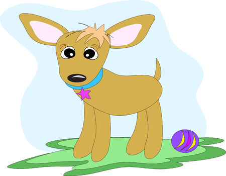Chibi the Chihuahua with Toy Ball Vector