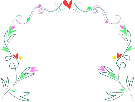 Delicate Frame of Swirls and Lines with Hearts and Flowers Stock Vector - 4063905