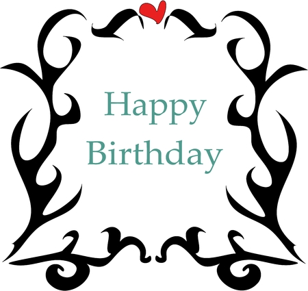 festive occasions: Tattoo Style Frame with Heart and Happy Birthday Greeting