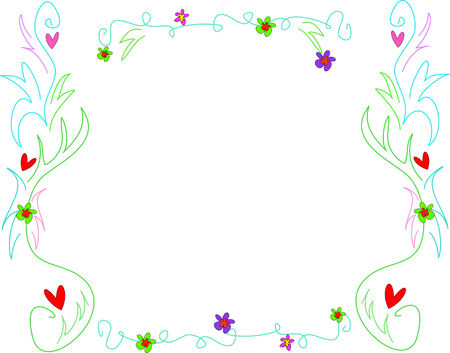 Delicate Frame of Swirls, Leaves, Hearts, and Flowers Stock Vector - 4063882
