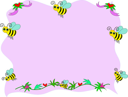 bee on flower: Bee Frame with s and Ribbons Vector Illustration
