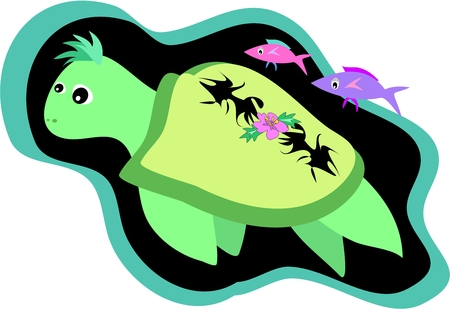 Green Sea Turtle with Hibiscus Flower and Tattoos Vector Vector