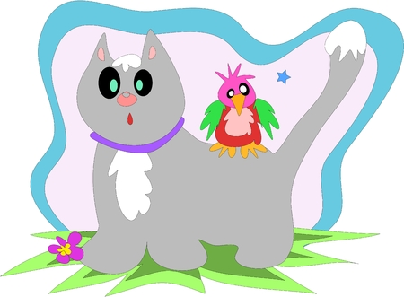 Snowy Cat and Quirky Bird are Friends