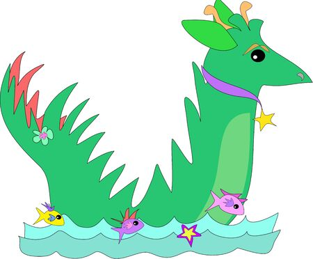 Green Dragon Swims with Fish Friends Vector