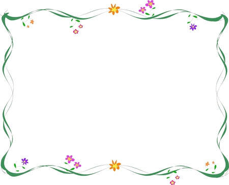 Delicate Frame of Wispy Lines and Flowers Stock Vector - 4083973