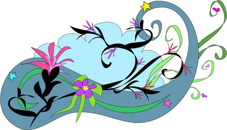 Design of Blue Swirls and Flowers Stock Vector - 4149565