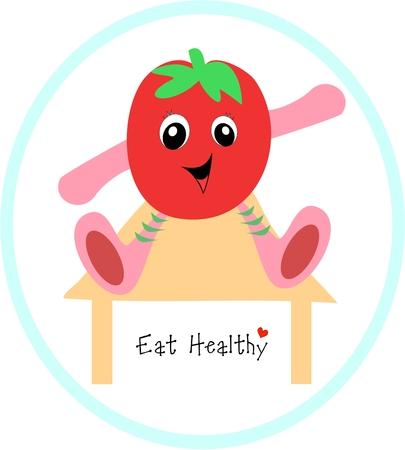 Eat Healthy Fruit on Table Ilustração