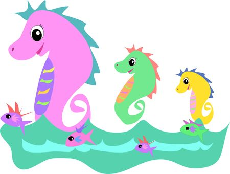 Seahorses with Fish Friends Vector