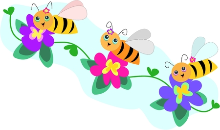 Trio Bee Line with Flowers Stock Vector - 4456001