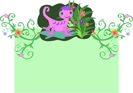 Gecko and Vines on a Message Box Vector