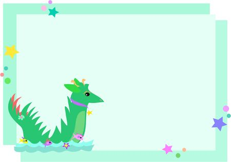 Frame Sea Serpent with Stars and Bubbles Vector