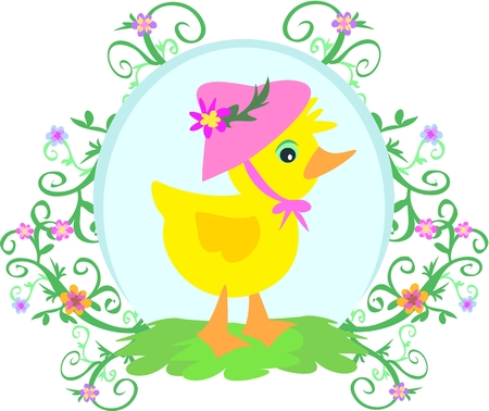 Duck with Hat, Flowers, and Vines