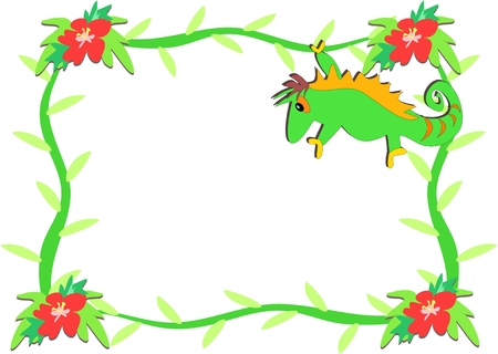 Frame of Chameleon and Hibiscus Flowers
