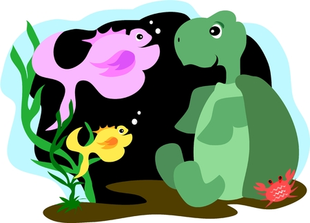 Turtle and Fish and Crab Friends Vector