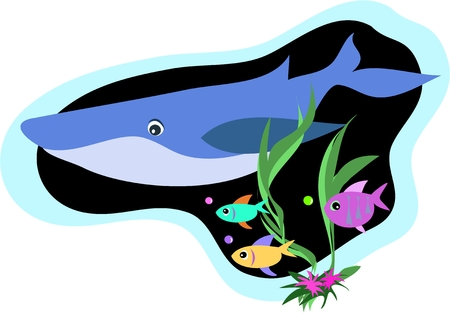 Whale and Fish Swim Stock Vector - 4503889