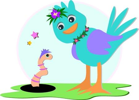 Bluebird and Earthworm