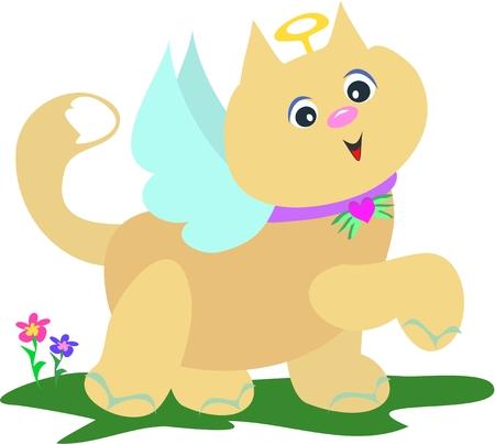 Angel Cat with Flowers Çizim