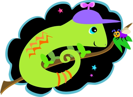 Chameleon and Fly Friends Vector