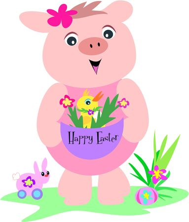 Pig with Easter Basket, Duck, and Rabbit Vector
