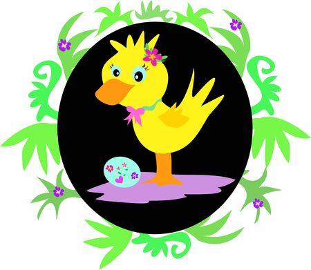 Easter Duck in Leaf Frame Vector