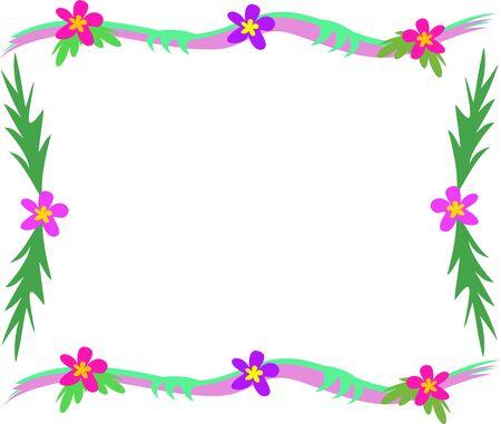 熱帯の葉と花のフレーム  イラスト・ベクター素材