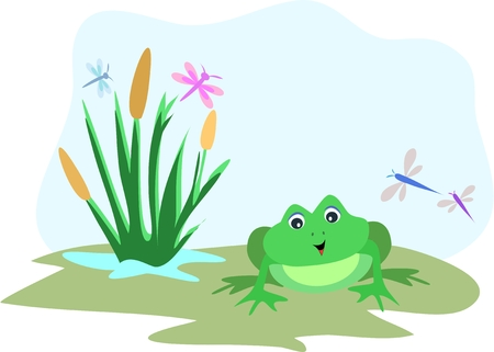Frog with Dragonfly Sky Frame Vector