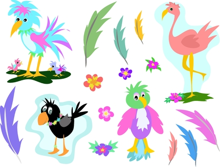 Mix Page of Birds, Feathers, and Flowers Stock Vector - 4503934
