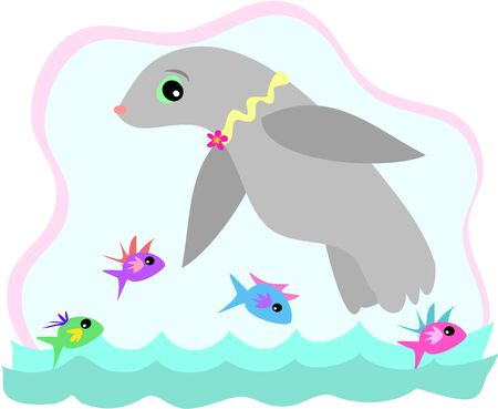 Seal Swimming with Fish Stock Vector - 4503873