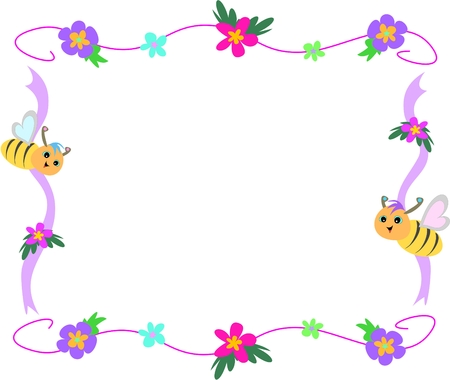 cartoon frame: Bee Fiori Nastro e Frame