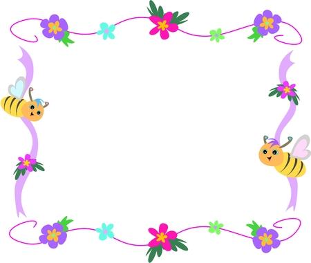 avispa: Flores y abejas Cinta Marco