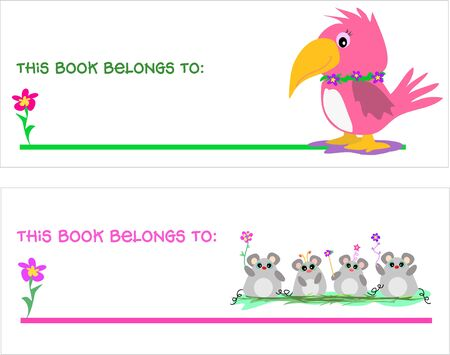 Two Bookmarks with Parrot and Mice Stock Vector - 4558210