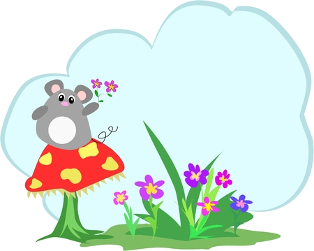 Mice, Mushroom, Flowers and Text Cloud Vector